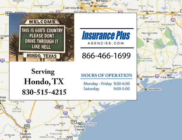 Insurance Plus Agencies of Texas (830)515-4215 is your Event Liability Insurance Agent in Hondo, Texas.