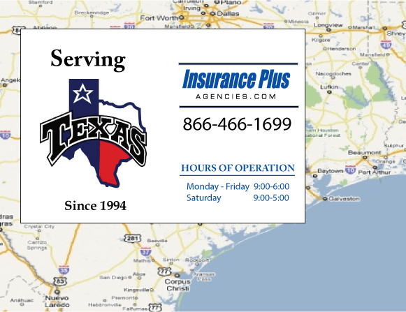Insurance Plus Agencies of Texas (817)264-6709 is your local Progressive Car Insurance agent in Blue Mound, Texas.