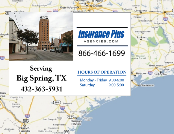Insurance Plus Agencies of Texas (432) 363-5931 is your Suspended Drivers License Insurance Agent in Big Spring, Texas.