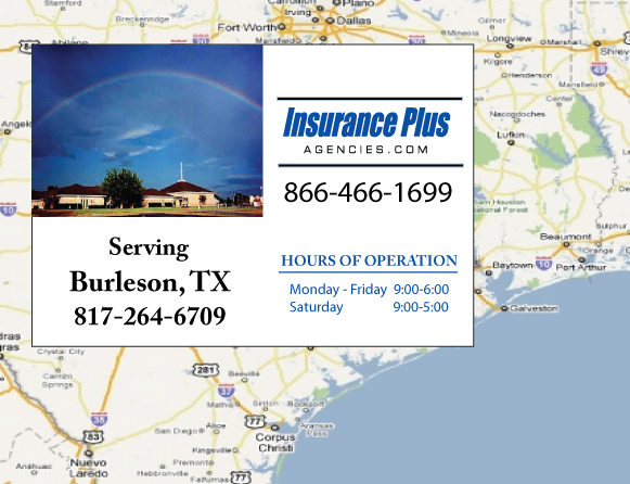 Insurance Plus Agencies of Texas (817) 264-6709 is your Suspended Drivers License Insurance Agent in Burleson, Texas.