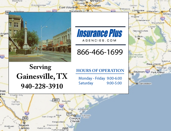Insurance Plus Agencies of Texas (940) 228-3910 is your Suspended Drivers License Insurance Agent in Gainesville, Texas.